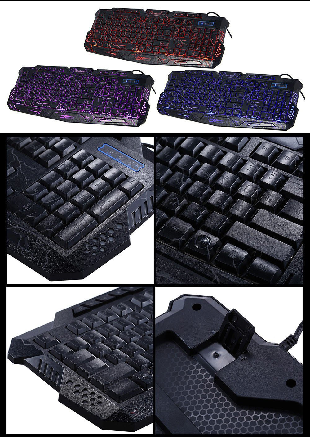 Gaming Backlight Keyboard LED Russian/English Layout USB Wired Colorful Breathing Waterproof for Desktop laptop Office keyboard
