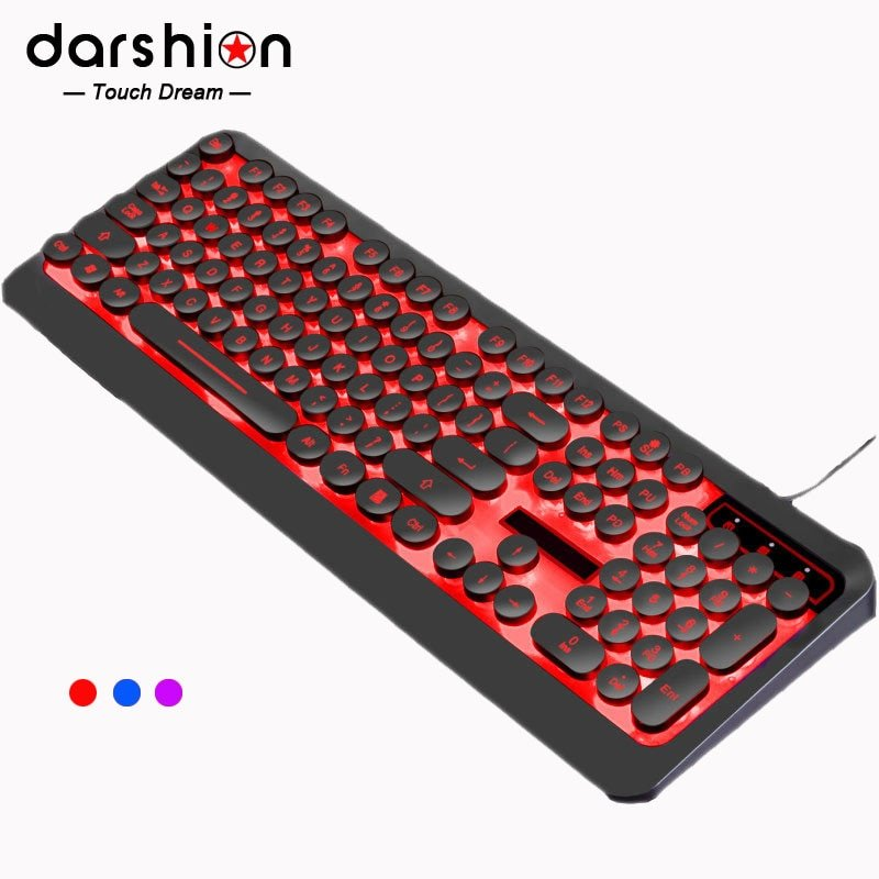 Russian English Gaming Keyboard  Retro Round Keycap Colorful Breathing Backlit 3-Color Light panel USB Wired For Laptop PC