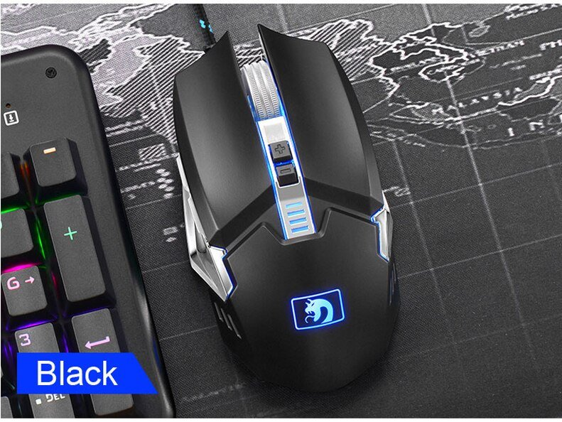 Darshion S10 Gaming Mouse 2400DPI 7 Buttons LED USB Optical Wired Metal Backlit Mouse Professional Macro For Laptop Desktop