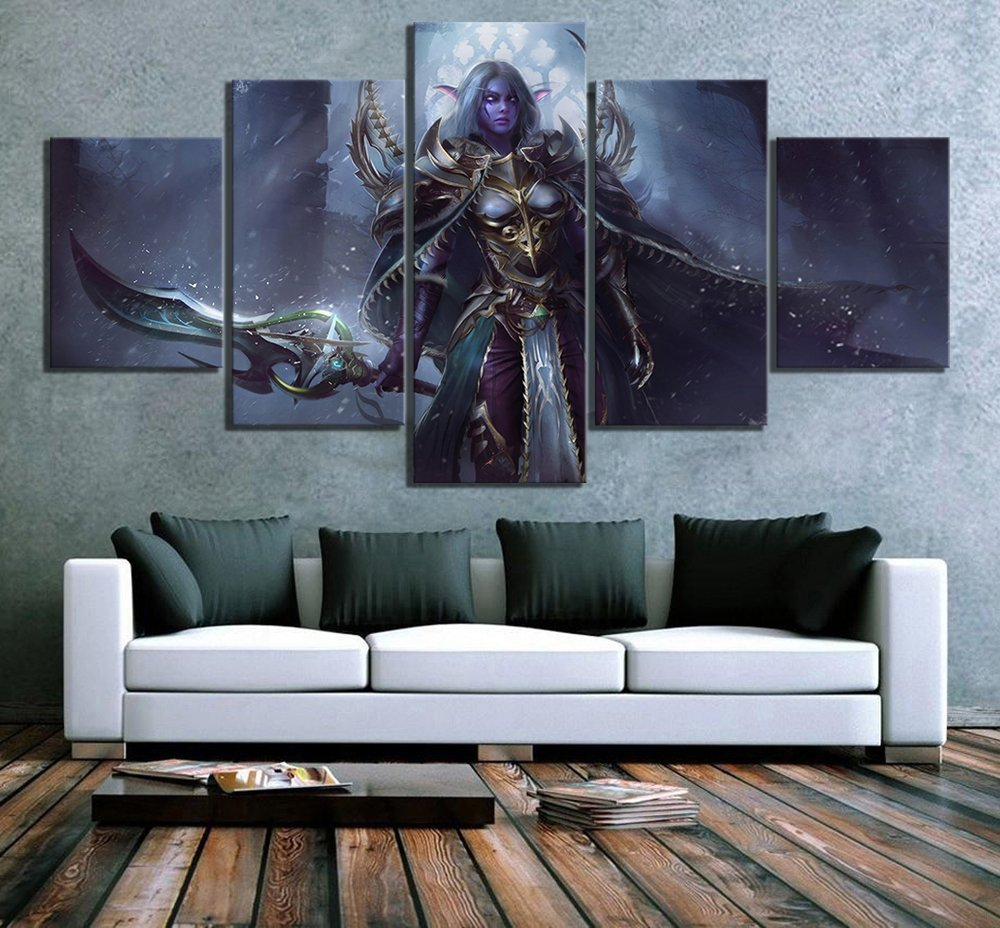 5 Piece Lexith Kaldorei Huntress World of Warcraft Video Game Posters Canvas Art Wall Paintings for Home Decor