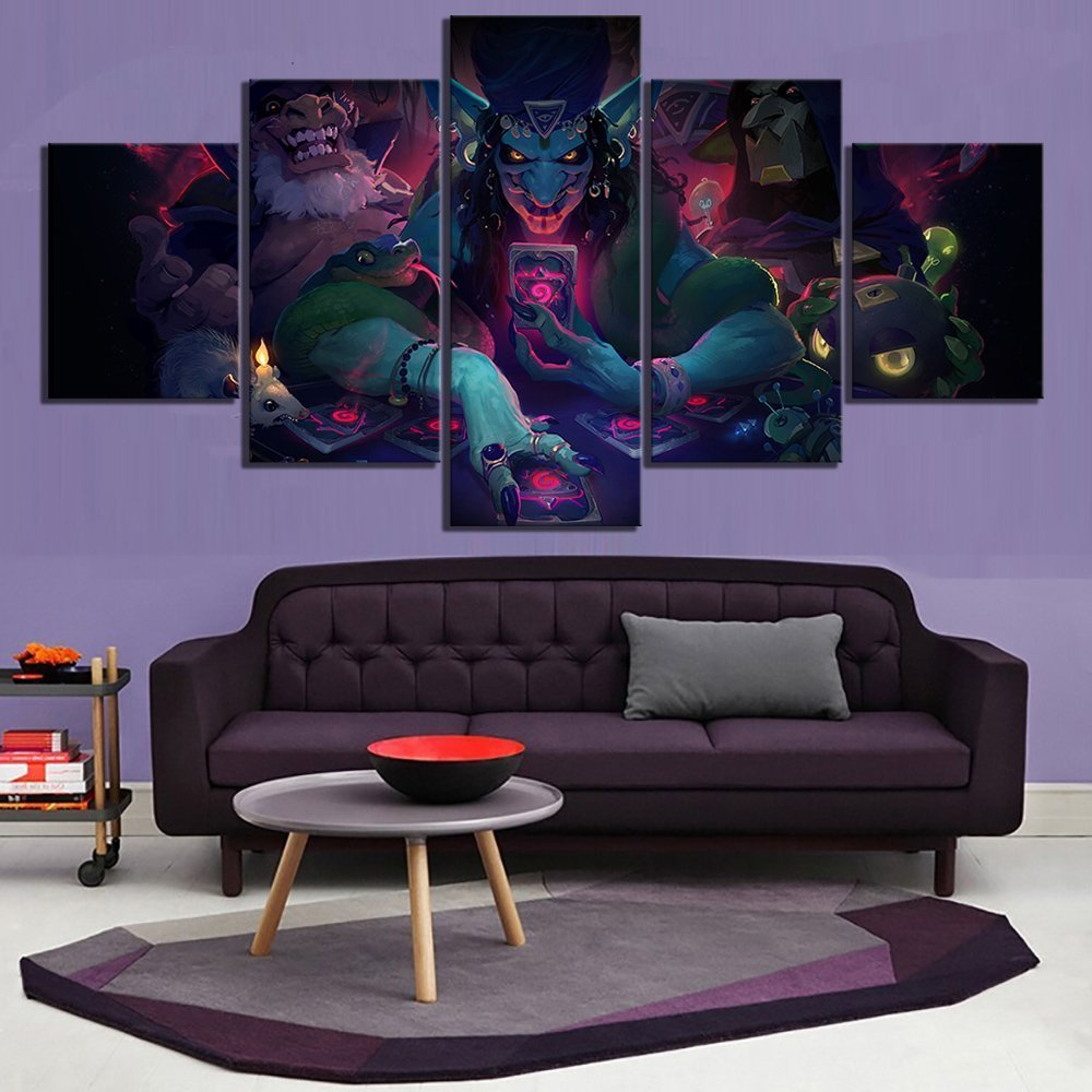 5 Piece Fantasy Art HD Pictures Hearthstone Rise of Shadows Video Game Poster Artwork Canvas Paintings Wall Art for Home Decor