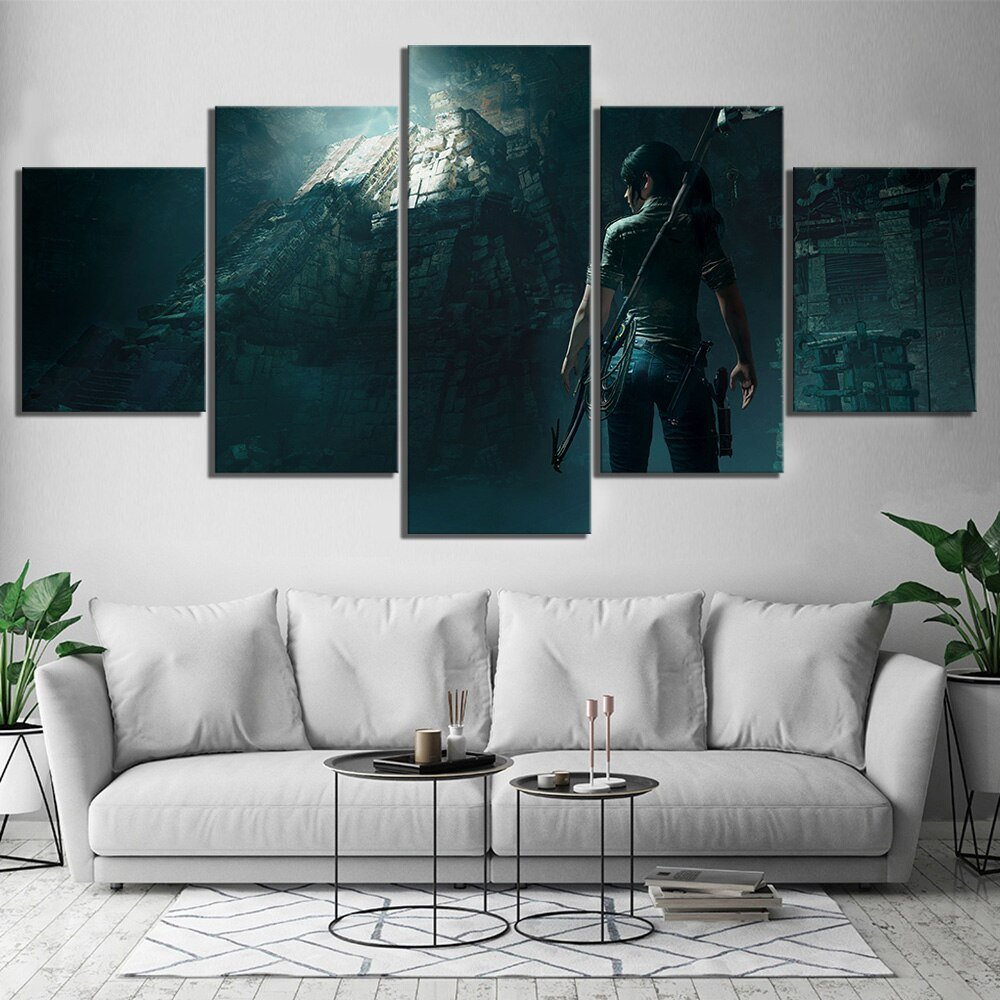 5 Piece Tomb Raider Video Games Poster HD Wall Pictures Lara Croft Poster Pictures Canvas Paintings Wall Art for Home Decor