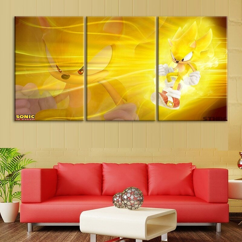 Modular Posters Modern HD Printed 3 Pcs Sonic The Hedgehog Series Video Game Wall Art Canvas Pictures Paintings Home Decoration