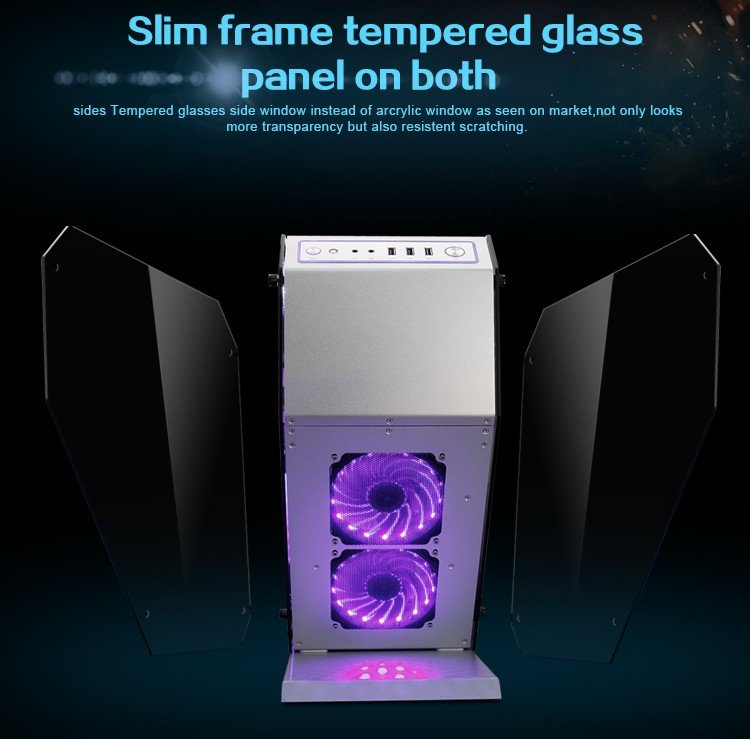 MOD full aluminum and double tempered glass Water cooling case i7 7700k 8G/16GB 1T GX 1080 ATX DIY gaming computer Desktop PC