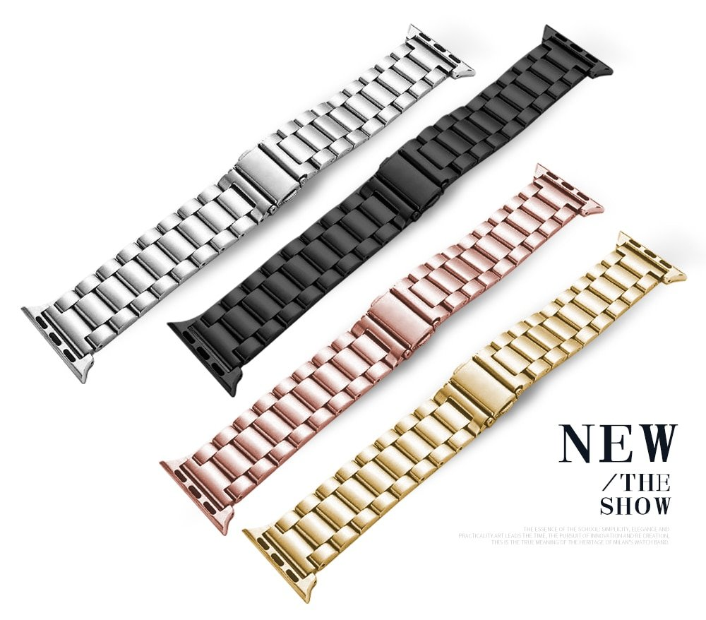 Stainless steel strap 38MM 42MM for apple watch band 4 3 2 1 metal chain with smart strap iwatch 5 40MM 44MM accessories