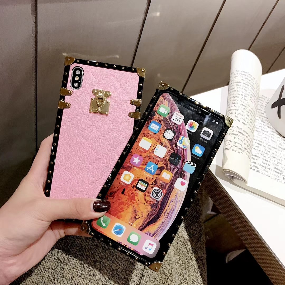 Soft Lambskin PU Leather Square Plaid Cover Cases For iPhone & Samsung